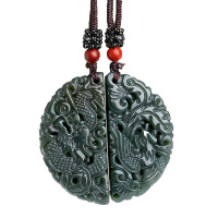 Dropshipping XinJiang HeTian Qing Jade Pendant Lucky Amulet Dragon and Phoenix pair Lovers Necklace With Chain For Men And Women