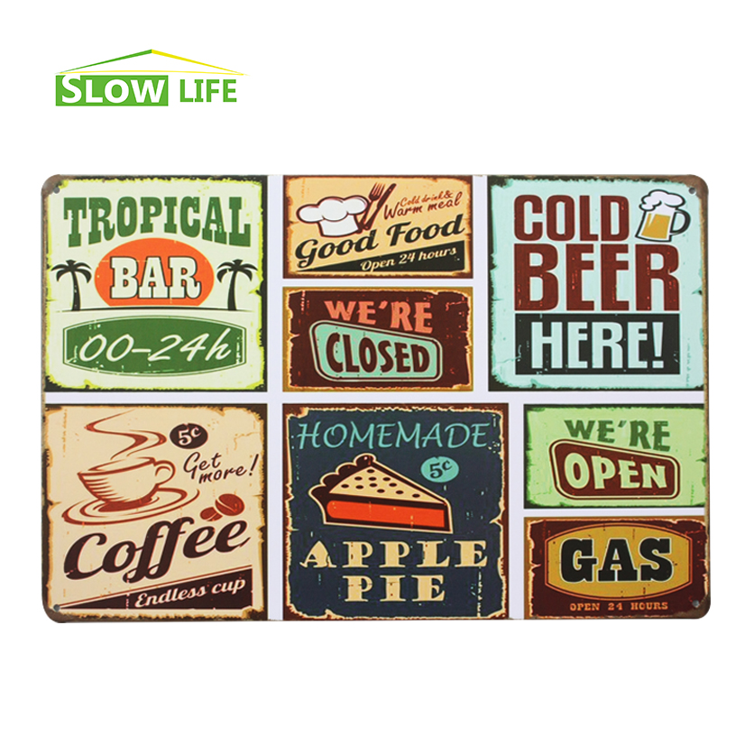 Wholesale food metal tin sign hotel cafe bar wall decor for Plaque metal cuisine