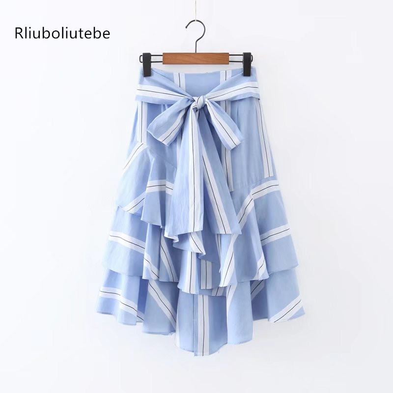 Summer Skirt Women Midi High Waist Vintage Bow Lace Up Fashion Layered Ruffles Blue Striped Sashes A-line Skirts Asymmetry