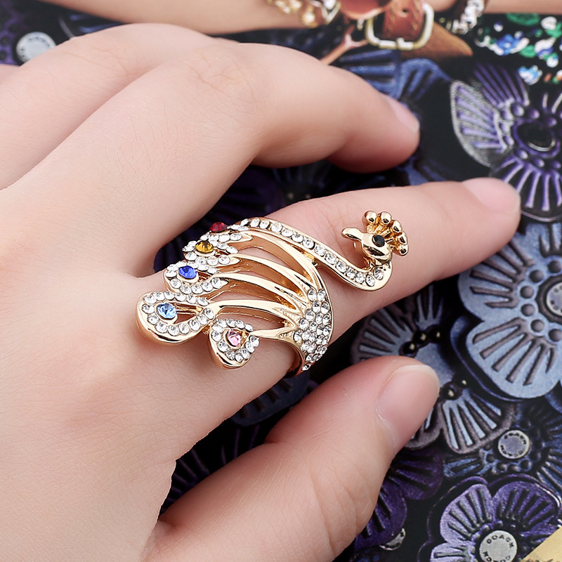 SHUANGR Rings for Women Valentine Present Fashion CZ Crystal Gold-Color Peacock Ring Cubic Zirconia Promise Jewelry