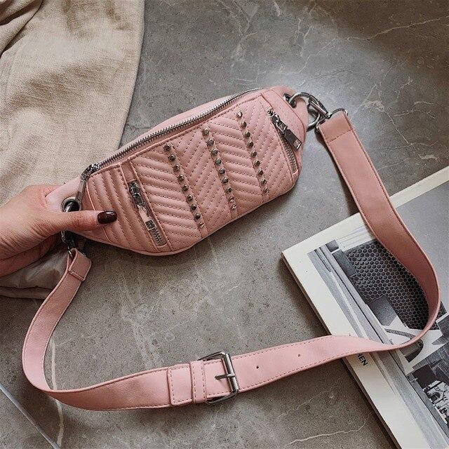 f2fdb5b9ba3 PU Leather Waist Bag For Women 2019 Female Fashion Fanny Packs Rivets Chest  Bags Ladies Waist Pack Designer Shoulder Belt Bag