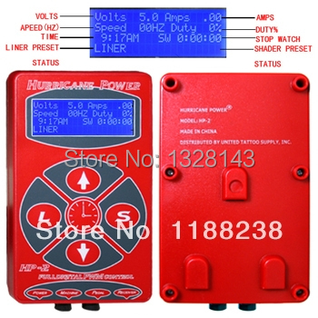 Red Hurricane Power Digital LCD Tattoo Power Supply Liner/Shader Dual Setting for tattoo machine tattoo gun  free shipping