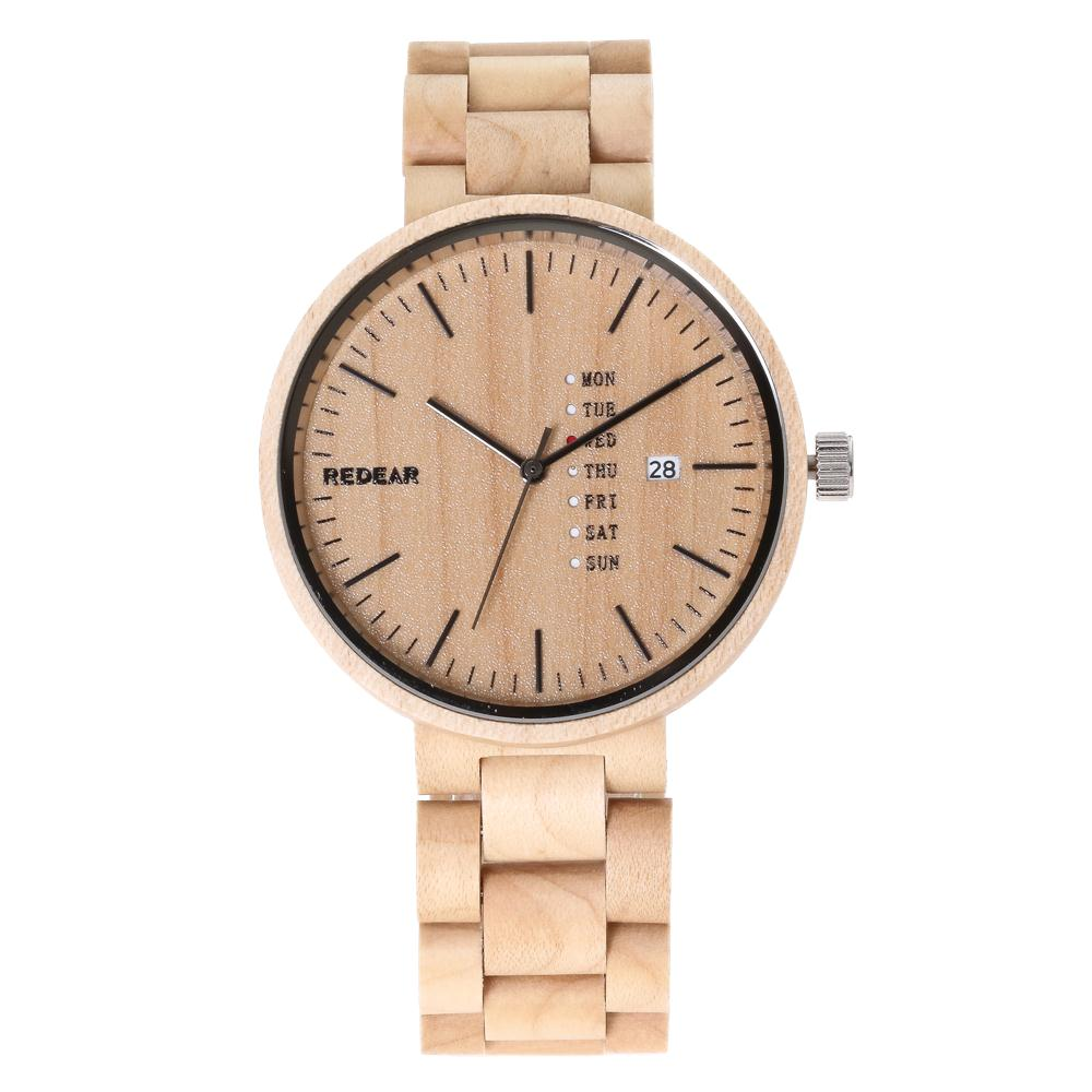 все цены на REDEAR Fashion Full Maple Wood Watch Men's watch Top Luxury Brand Wooden Watches Auto Date Week Display Clock saat reloj hombre