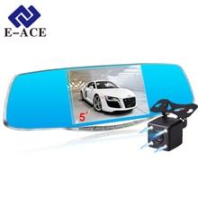E-ACE Coche Cámara Dvr Dashcam Auto de la Visión Nocturna Grabador de Vídeo Espejo retrovisor Hd 1080 P Con Dos Lente de La Cámara de Aparcamiento Monitor