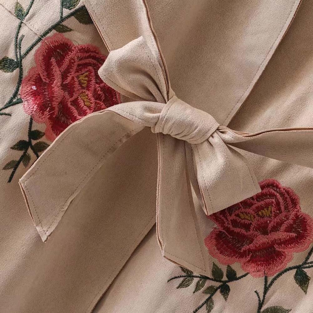 Firstto Femmes Tied Lâche Faux Ceinture Manteau Rétro Mi As Survêtement Vintage Broderie Long Suede Impression Shown Kimono Tranchée Ceintures Folral Bow a4avx1r