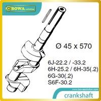 B6 Crankshaft for big 6 cylinder semi hermetic compressor compatible with Bitzer 6G30.2 and S6F30.2