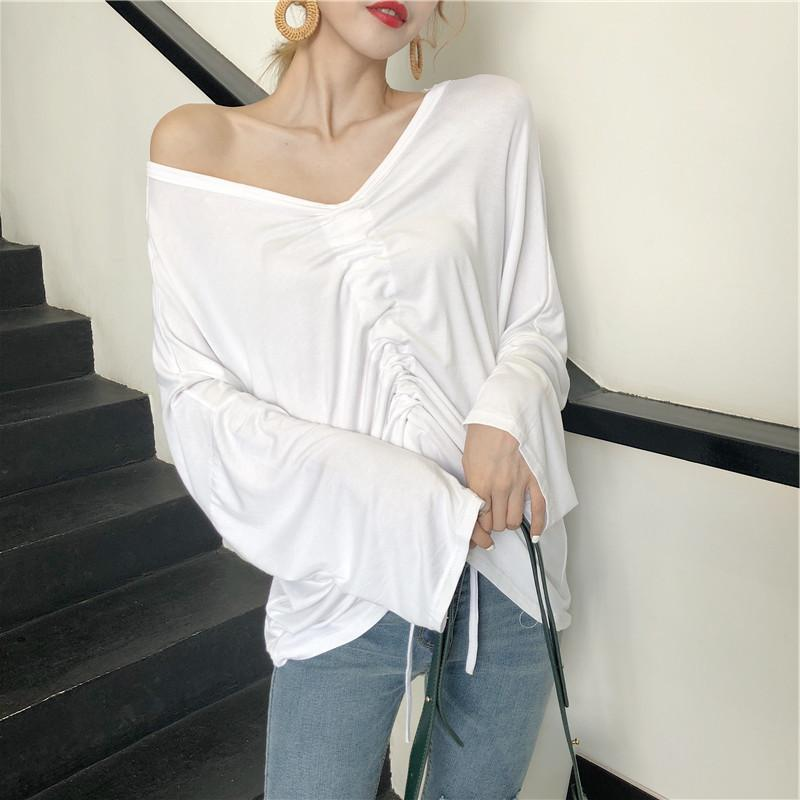 2019 Korean Spring and Summer Cotton Casual T-shirts  Full  Solid  V-Neck  Women Tshirt Office Lady T-shirts