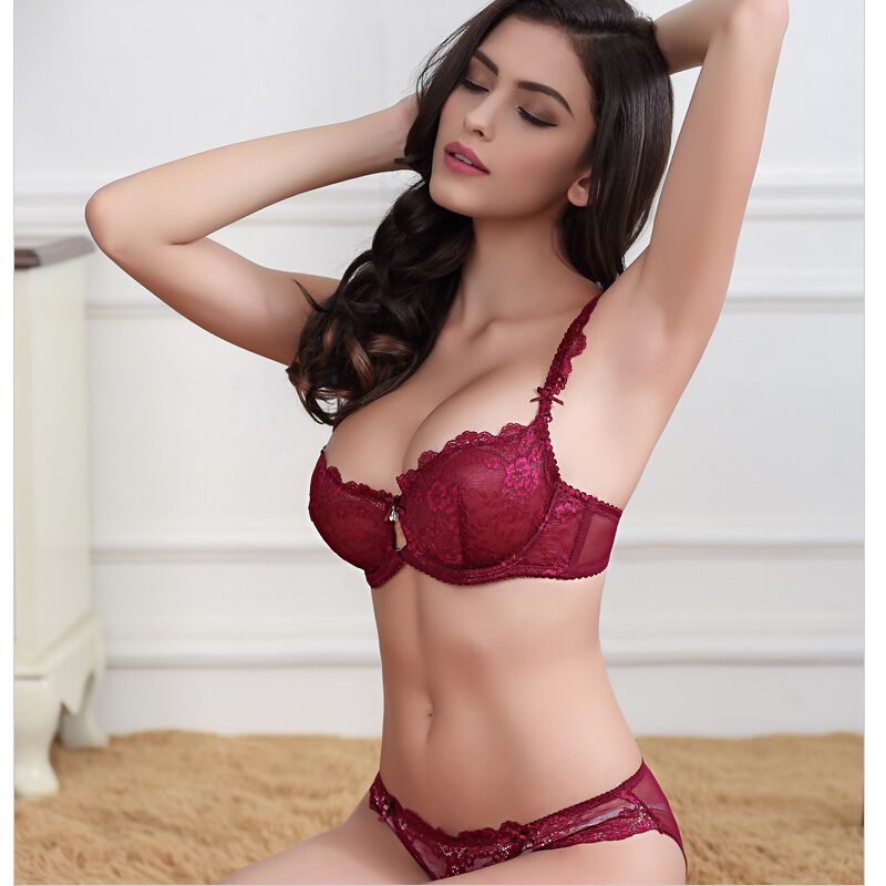 5fa5162d608 JoyAlice France Women Underwear lingerie Pink Lace Bra Set push up Plus  Size Sexy Transparent intimateThin Cup bra Panty Set