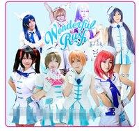 Liebe-live Wunderbare Rausch Alle Mitglied Weiße Uniform Anzüge Cosplay Kostüm Frauen Kleid Halloween Kostüm kleid + kopfschmuck + handschuhe