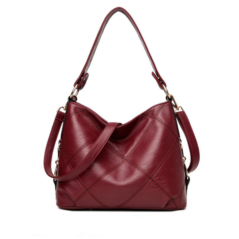 High Quality PU Leather Women Shoulder Bag Fashion Patchwork Girls Handbags Famous Brand Lady Bucket Bags Casual Tote Purses new 2017 fashion leather lady patchwork natural sheepskin shoulder bag famous brand women s bag casual bag