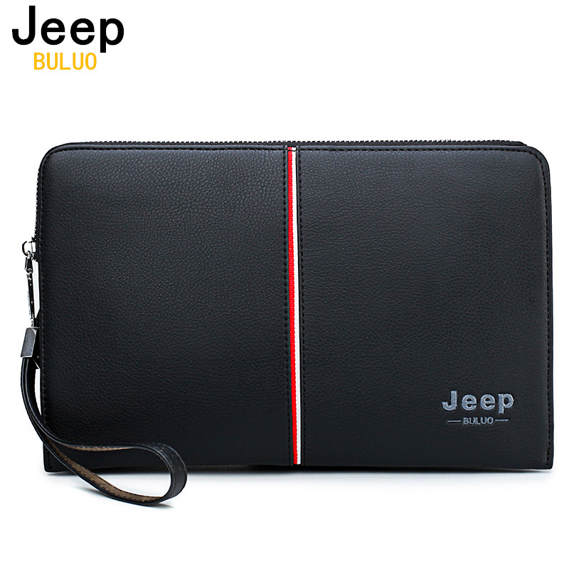Men's Handbag Clutches-Bags Leather Wallet Jeep Buluo Large-Capacity Luxury Brand