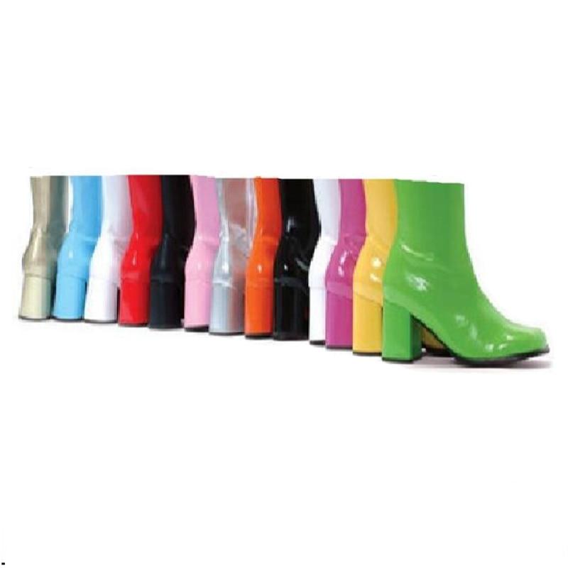 Buty damskie buty wysokie obcasy moda botki na obcasie biały zielony patentu skórzane buty damskie Zip kwadratowe Toe galaretki buty w Buty do kostki od Buty na  Grupa 1