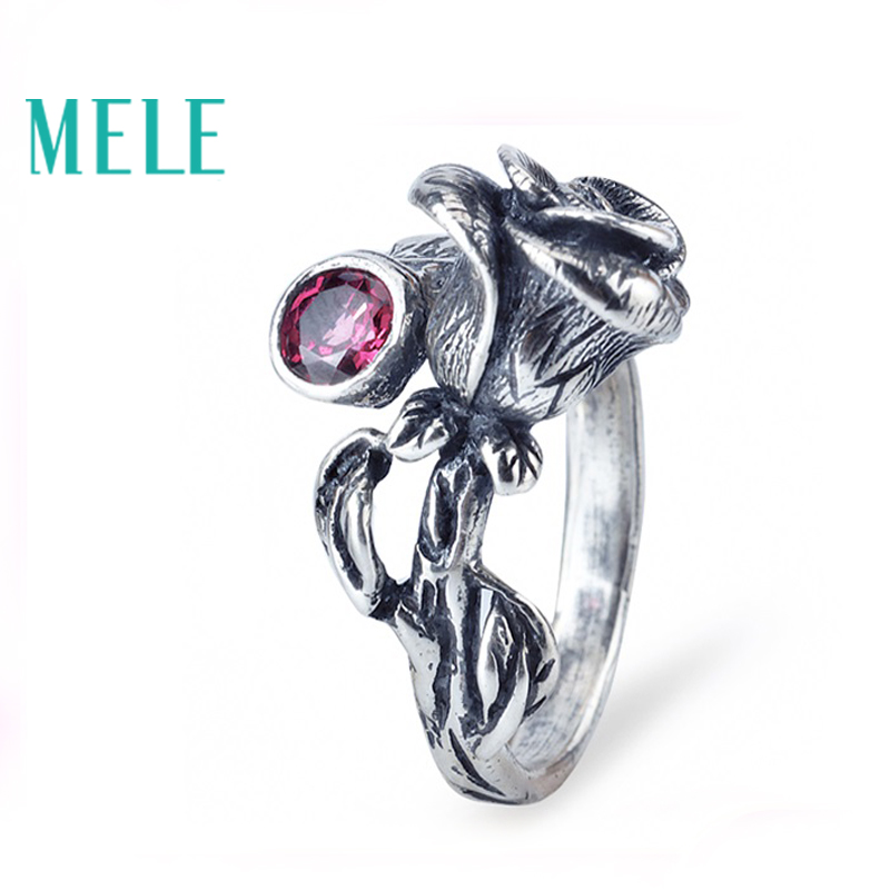 Natural Chinese Classical style silver 925 jewelry.Garnet Rose retro ring for women, Adjustable stereoscopic engraving,Glitterin блуза pompa pompa mp002xw15gzo