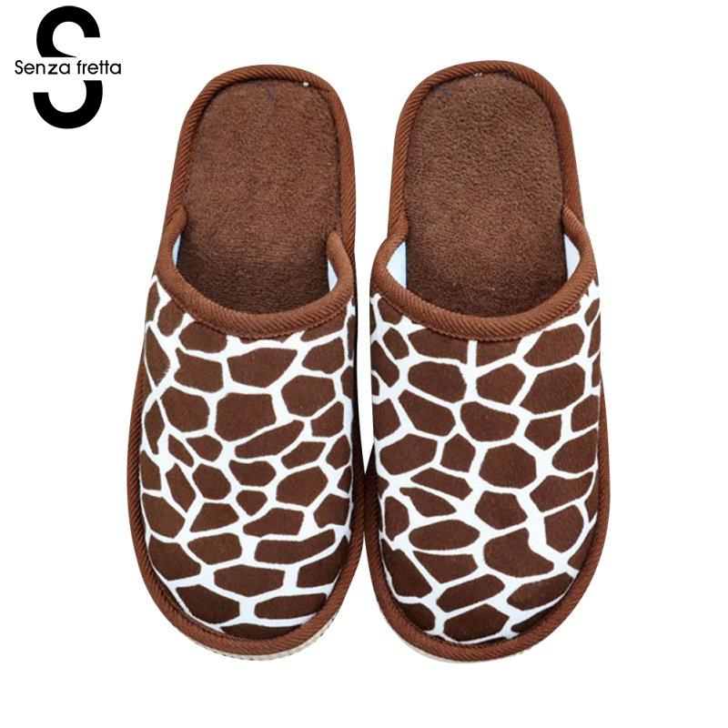 Senza Fretta Leopard Cotton Slippers Winter Warm Couples Slippers Indoor Thick Bottom Non-slip Soft Slippers Men Shoes Big Size soft plush big feet pattern winter slippers