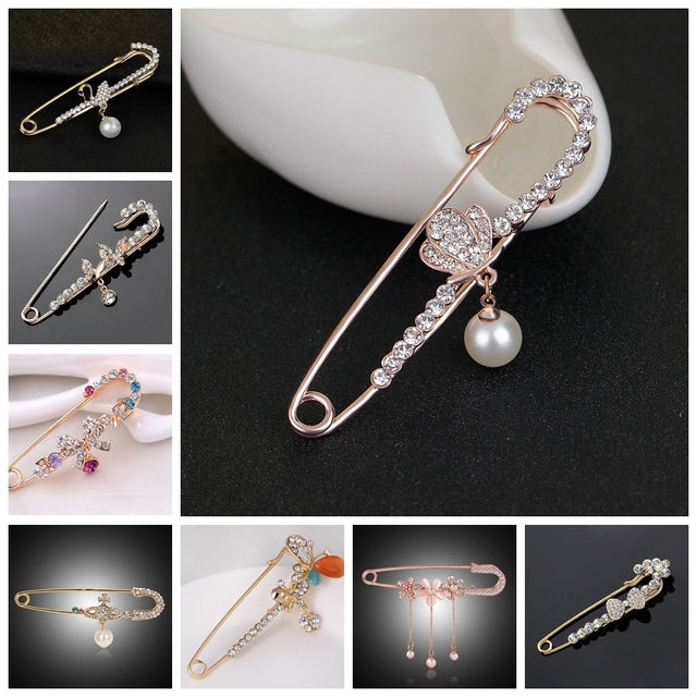 Big Size Pendant Charm Hijab Pins for Women Peacock Swan Butterfly Animal Pearl Bow Brooch for Women Jewelry Accessories Fashion