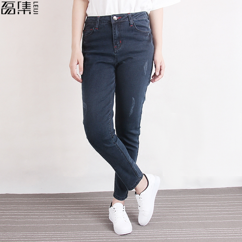 2017 Spring  Autumn Jeans woman high waist Ripped  pencil pant  skinny cotton plus size Trousers for women 5XL цены онлайн