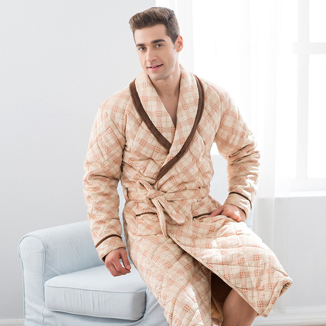 Thick velvet man pajamas quilted gown loose big size long winter bath robe