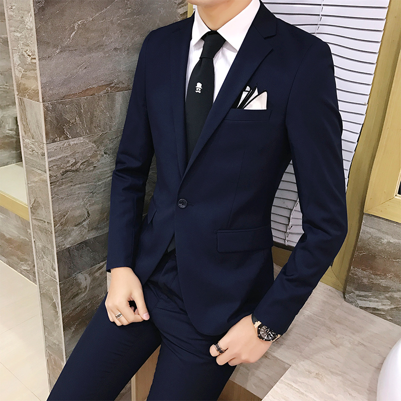 2 ชิ้น/เซ็ต 2019 ใหม่แฟชั่นสไตล์เกาหลี Slim สีดำ Mens สูทคุณภาพสูงชุดแต่งงานสำหรับผู้ชายเสื้อผ้าผู้ชาย-ใน สูท จาก เสื้อผ้าผู้ชาย บน   1