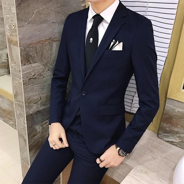 2 unids set 2019 nueva moda estilo coreano Slim negro para hombre traje con  pantalones 562fe0c9efd2