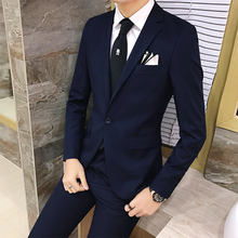 2pcs/set 2016 new fashion Korean style Slim Black Mens suit with pants High quality wedding suits for men dress Clothing men's