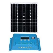 Solar Kit Panel 50w 18v Battery Charger 12v PWM LCD Controller 12v/24v 10A Auto Car Camp Caravan Phone Lighting LED