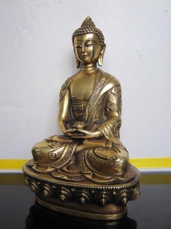 التبت Buddhis اميتابها البرونزية بوذا تمثال-في التماثيل والمنحوتات من المنزل والحديقة على  مجموعة 3