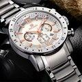 MEGIR Stainless Steel Mens Watches Top luxury Brand Business Military Quartz Watch Male Waterproof Wristwatch relogio masculino