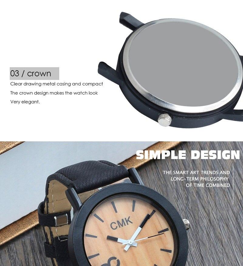 Fashion Luxury Men Women Simple Casual Leather Wood Grain Watch 12