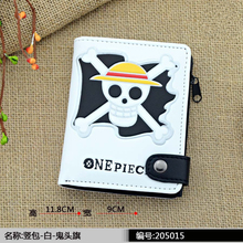 style leather men short  tokyo ghou wallet fairy tail one piece wallets purse coin pocket male zipper purse