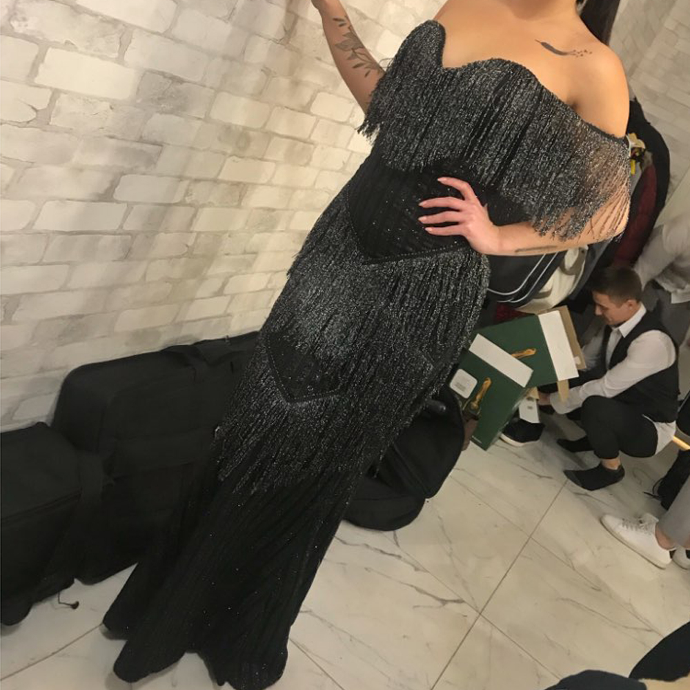 Black Glittered Patchwork Tassel Sexy Maxi Dress Night Party Dress Off The Shoulder Strapless Shiny Long