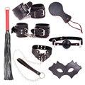 2017New PU Leather BDSM Bondage Restraints Set Kit Handcuffs Whip Collar Erotic Sex Toys for Couples Slave SM Adult Sex Games