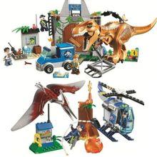 2 шт./лот Парк Юрского периода Pteranodon Escape T. rex Breakout строительные блоки наборы классический фильм дети подарок игрушки с Legoinglys
