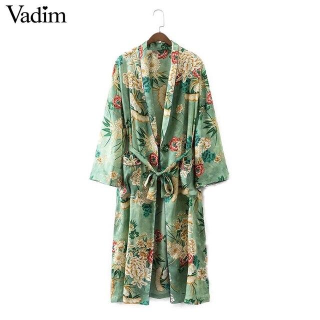 Stich Frauen Offenen Mantel Floral Vintage Kimono Schärpen XX1BwHq8x