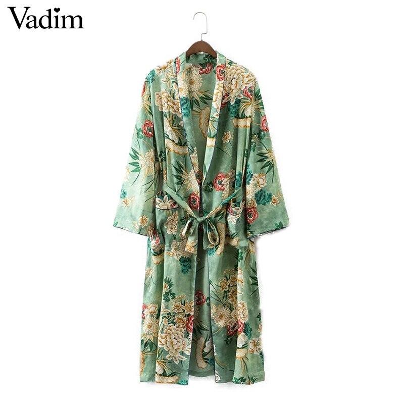 Women vintage floral kimono coat open stitch sashes outerwear ladies European style casual fashion long tops CT1435