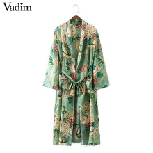women vintage floral kimono coat open stitch sashes  ladies european style casual fashion long tops ct1435