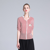 Women Blouse OL Ladies Pink Vertical Stripe Shirts Summer womens tops and blouses Silk New fashion Patchwork Half sleeve Shirt