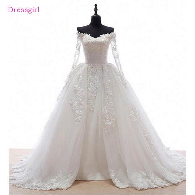 0fb5306ee97 Long Sleeves Vestido De Noiva 2018 Muslim Wedding Dresses Ball Gown V-neck  Tulle Lace Cheap Boho Wedding Gown Bridal Dresses
