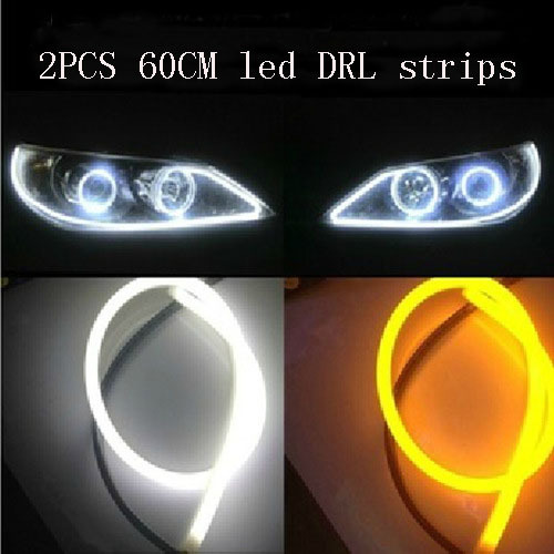2x 60cm LED Headlight Strip With Turn Signal Flexible Car Angel Eye DRL Head Lamp Switchback Tube Style Daytime Running Light 2pcs 45cm 10w auto car silicone tube style flexible strip light headlight angel eye drl led daytime running light lamp white 12v