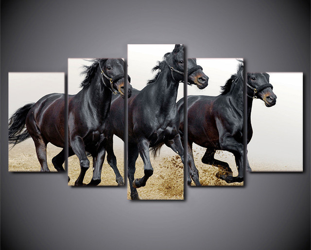 5 Piece Wall Picture For Living Room Canvas Art Horses Running ...