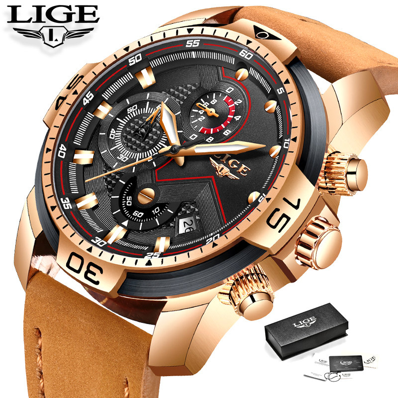LIGE Mens Watches Top Brand Luxury Military Sport Watch Leather Waterproof Wristwatch Leather Watch Date clock Relogio MasculinoLIGE Mens Watches Top Brand Luxury Military Sport Watch Leather Waterproof Wristwatch Leather Watch Date clock Relogio Masculino