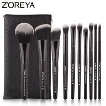 Zoreya Brand Black Makeup Brushes 10pcs Synthetic Fibers Cosmetic Kit Crease Eye Brow Blush Powder Brush For Make Up Beginner