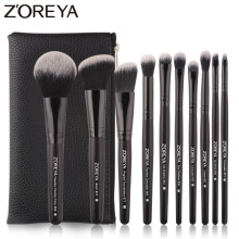 Zoreya Brand Black Makeup Brushes 10pcs Synthetic Fibers Cosmetic Kit Crease Eye Brow Blush Powder Brush For Make Up Beginner