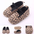 Hot selling leopard newborn baby girl shoes elastic band shallow