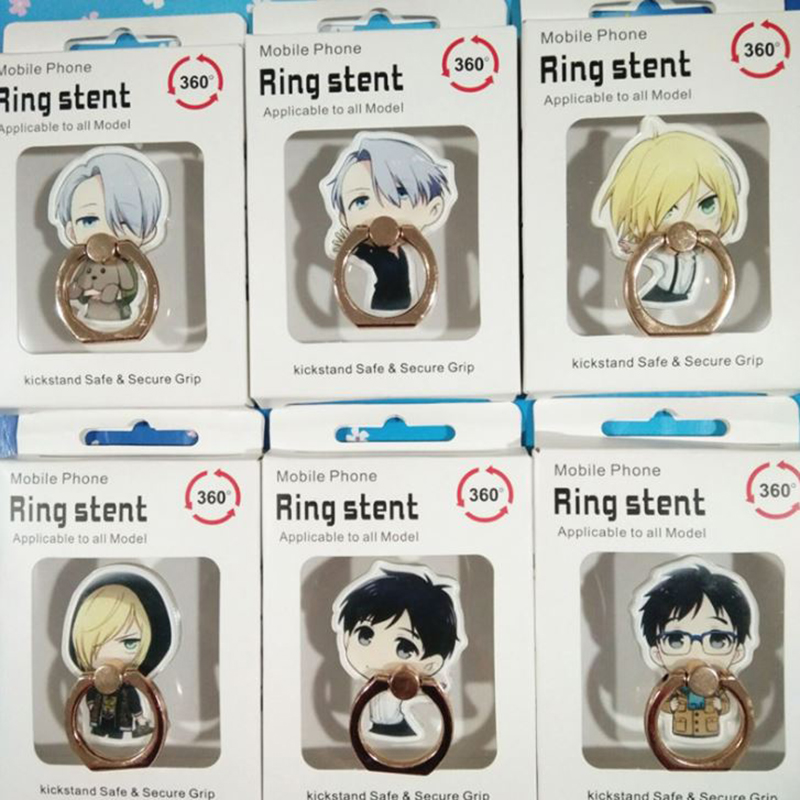 1 Pc Universal Anime YURI On ICE Finger Ring Mobile Phone Stand Phone Holder Acrylic 360 Degree Ring Stent Action Figure Toy