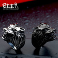 Beier new store 316L Stainless Steel ring top quality Super Cool Wolf  biker Rings Fashion jewelry BR8-075
