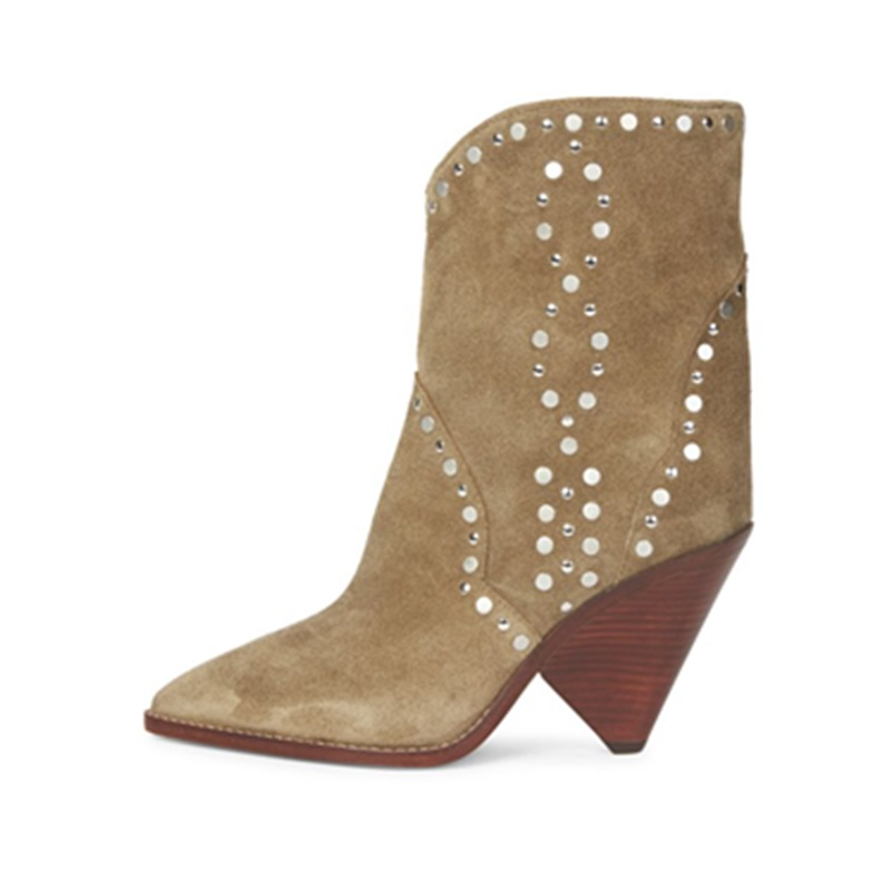 Fashion Autumn Winter Cowboy Boots Rivets Spike Heels Shoes Woman Suede Pointed Toe Slip On High Heels Ankle Boots Zapatos Mujer