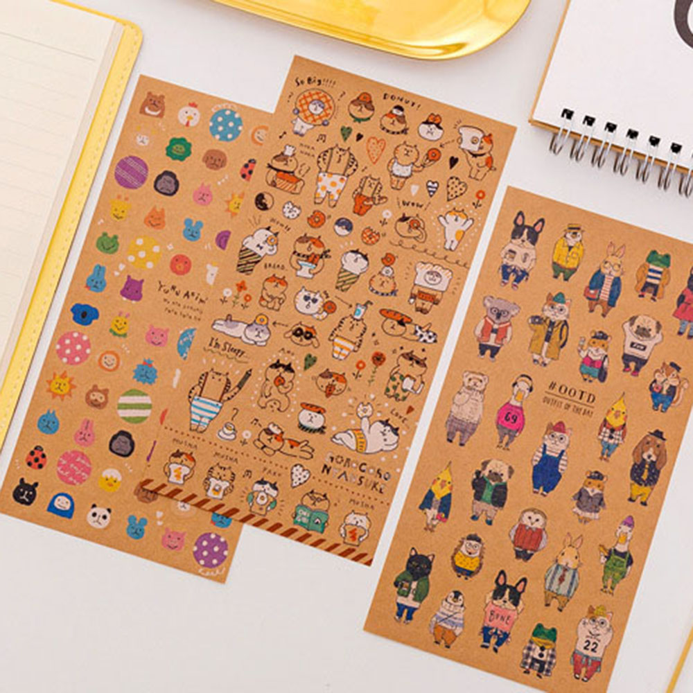 Japanese Kraft Paper Cute Cat Animals Sticker Diary Decorate PVC Transparent Scrapbooking Stationery Stickers