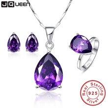 3PCS/Set Luxury Women Wedding Water Drop Earrings Amethyst P