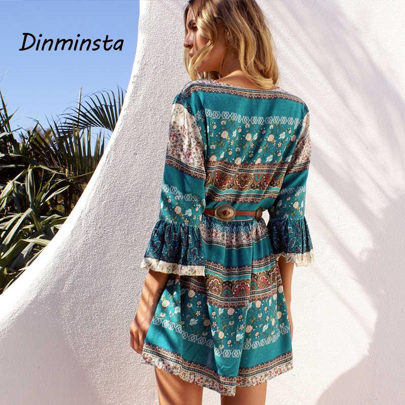 3a5d5328914d0 Dinminsta Women Summer Boho Mini Dresses Sexy Cross-criss Neck Flare Sleeve  Short Frocks Female Elegant Vintage Bohemian Dress