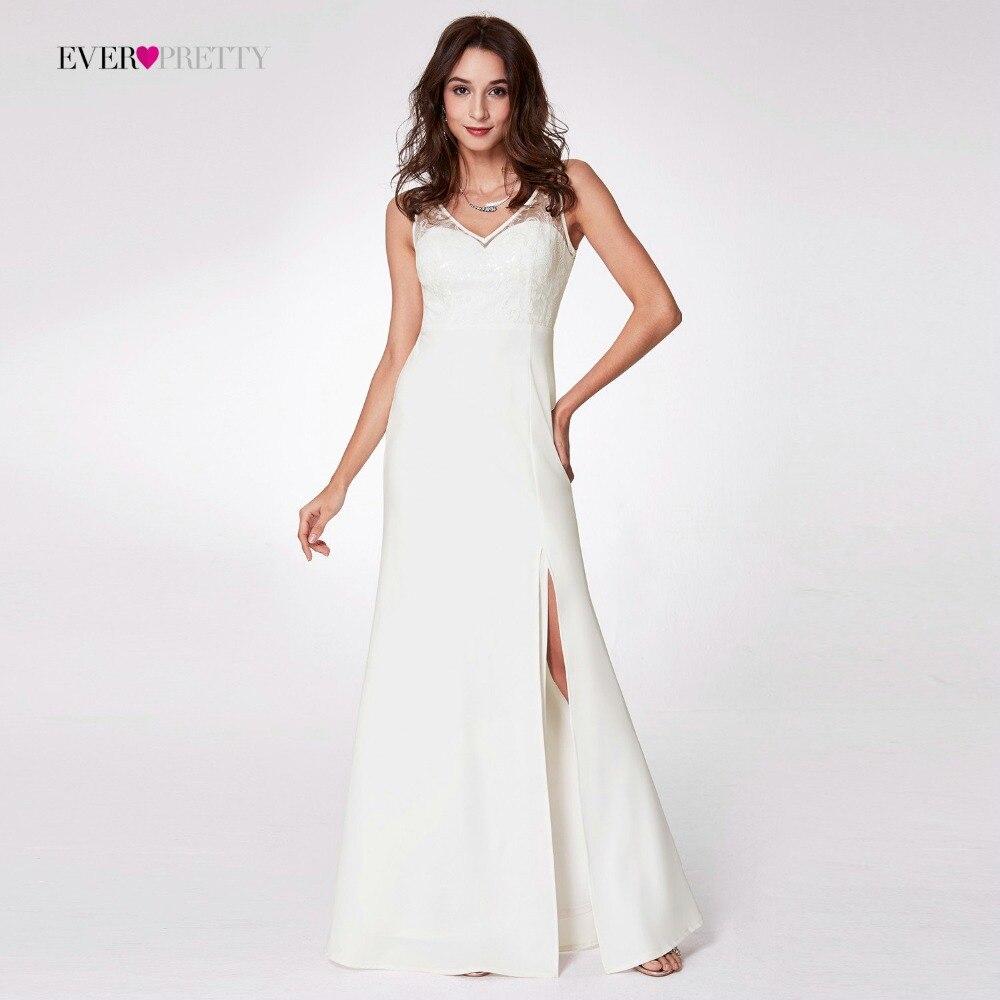 Новое поступление, вечерние платья Ever Pretty EP07233, длинные, с v-образным вырезом, белые, трапециевидные, кружевные, без рукавов, дешевые, вечерние...